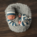 3 Piece Button Newborn Outfit - navy and white stripe with gray - Gigi and Max