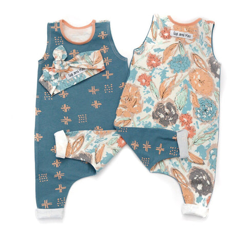 Blue and Peach floral two-sided Tank Top Romper - headband not included