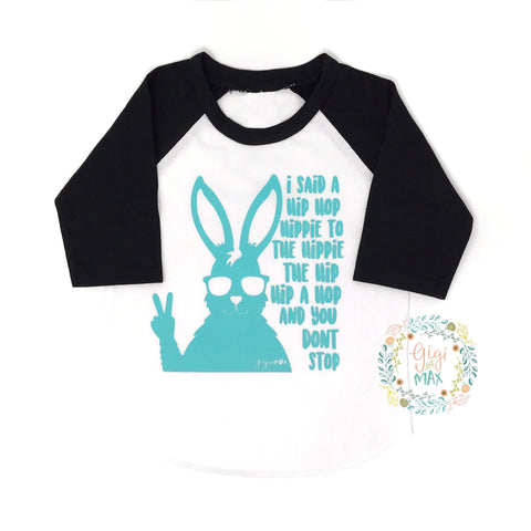 Easter Hip Hop Raglan - black sleeves / teal ink - Gigi and Max