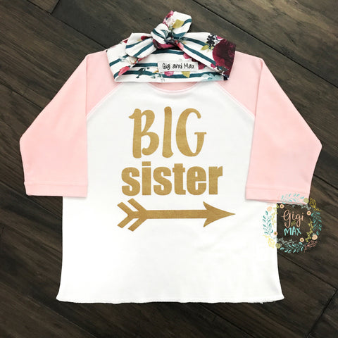 Light Pink Big Sister Raglan with Headband - gold shimmer