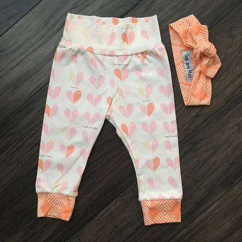 Peach Valentine Leggings (includes matching headband)