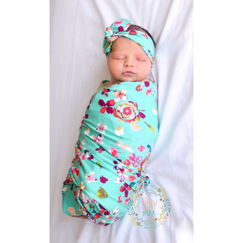 "Swaddle Teal Floral -  34"" X 34"""