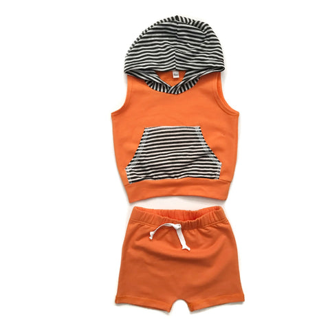 Orange with Stripes - Tank Hoodie and Shorties Set Handmade - Gigi and Max