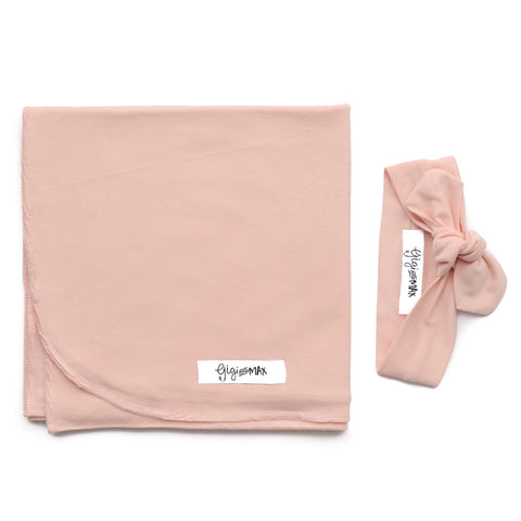 Powder Pink Lightweight Swaddle blanket - Gigi and Max