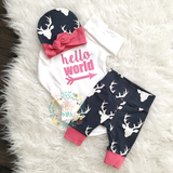 Pink and Navy Deer Hello World Newborn Outfit - Gigi and Max