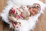 "Ava Floral Swaddle blanket and headband -  34"" X 34"" taupe floral - Gigi and Max"