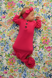 Penelope Raspberry Knotted Button Gown -  NB-3m - Gigi and Max