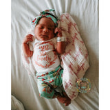 Teal Floral Isn't She Lovely Newborn Outfit