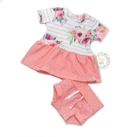 Watercolor Floral Peplum and Shorties Set Handmade - Gigi and Max