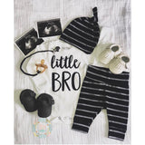 Little BRO newborn outfit black and gray stripe - Gigi and Max