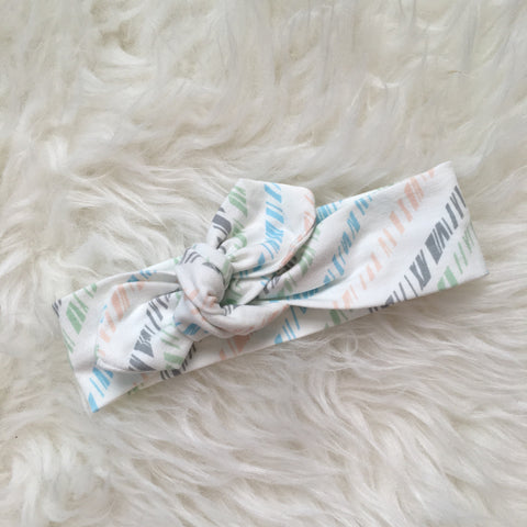 Topknot Headband - Peach, Mint, Gray