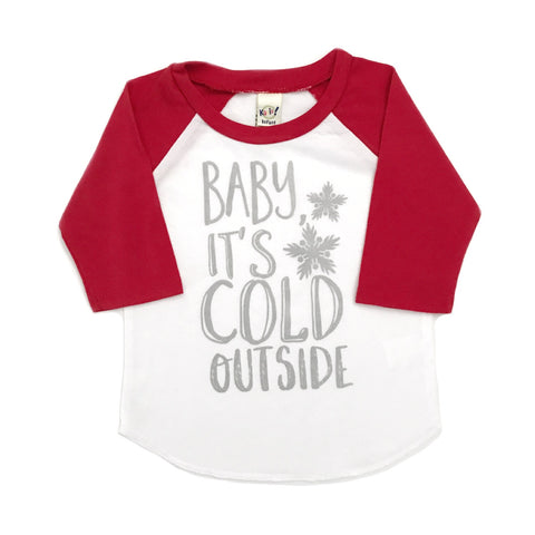 Baby it's Cold outside Raglan, silver shimmer ink - red sleeves