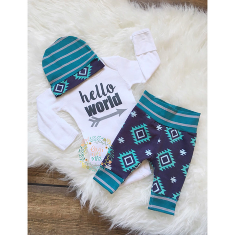 Mint and Teal Aztec Newborn Outfit