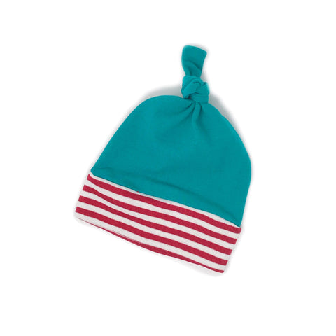 Newborn teal with stripes baby boy knot hat - Gigi and Max