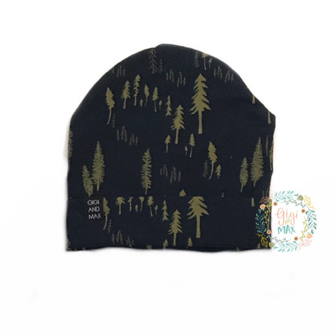 Navy and Green Tree Beanie - infant size