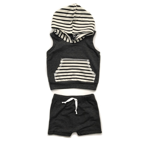 Black with Stripes - Tank Hoodie and Shorties Set Handmade - Gigi and Max