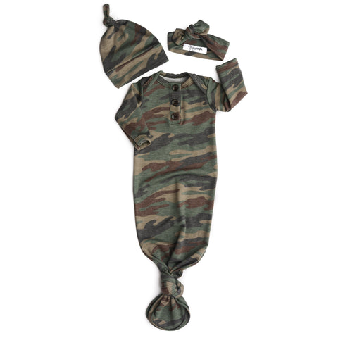 Brushed Camo Knotted Button Gown -  NB-3m - Gigi and Max