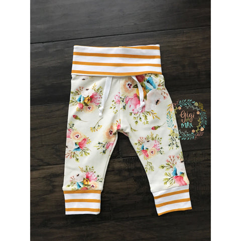 Mustard Stripe and Cream Floral Jogger pants only