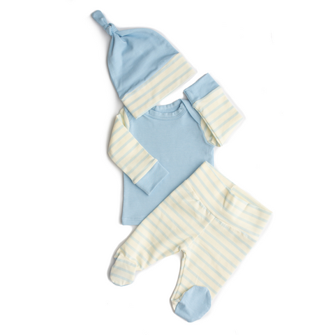 3 Piece Newborn Outfit light blue with stripes - Gigi and Max