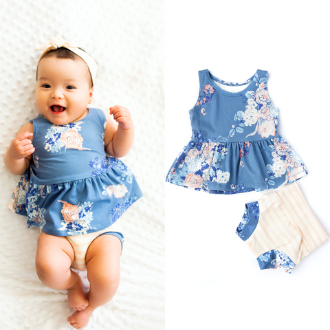 Layla Floral Peplum and Shorties Set Handmade (headband sold separately) - Gigi and Max
