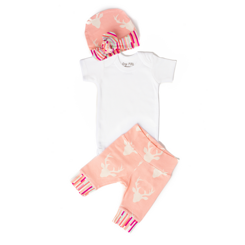 Light Pink Deer Hat - Short Sleeve - Gigi and Max