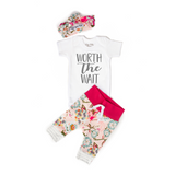 Light Pink Floral Worth the Wait Newborn Outfit - Gigi and Max