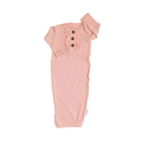 Olivia Light Pink Ruffle Button Gown - Gigi and Max