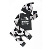 Little Brother black and gray triangles 3 piece set newborn outfit - Gigi and Max