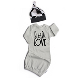 Little Love gown Gray gown Stripe Hat and Swaddle option - Gigi and Max