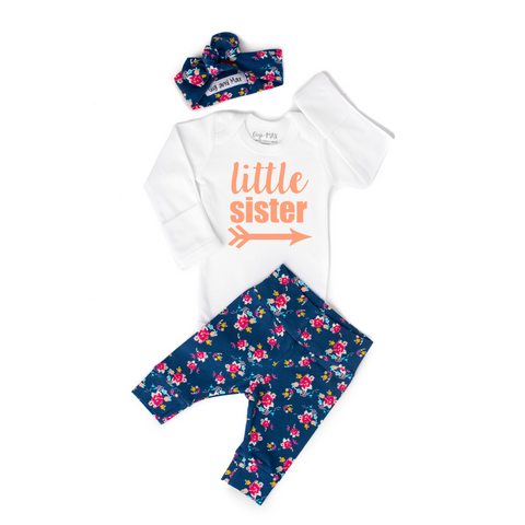 Little Sister newborn outfit Navy Floral - Gigi and Max