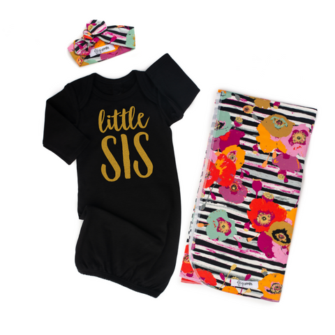 Little Sis Gown Black and Gold - Gigi and Max