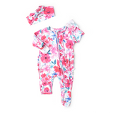 Lucy Floral Newborn Footed Ruffle Zip - Gigi and Max