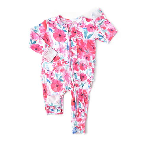 Lucy Floral Ruffle Zip One Piece - Gigi and Max