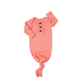 Mila Peach Knotted Ruffle Button Gown - Gigi and Max
