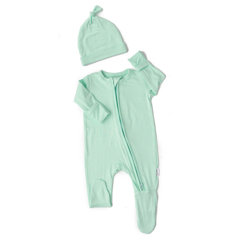 Finley Mint Newborn Footed Zip - Gigi and Max