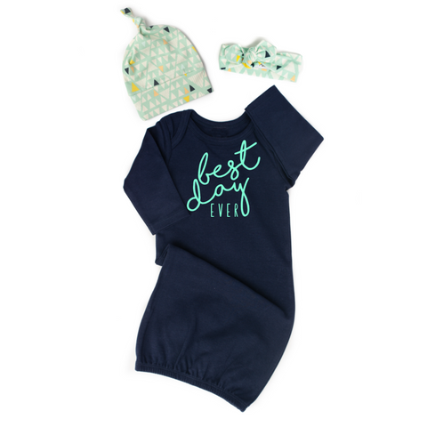 Navy Gown - Mint Best day ever Gender Neutral - Gigi and Max