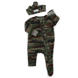 Camo RUFFLE Newborn ZIP - Gigi and Max