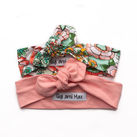 Topknot headbands - 2 pack Pink / Mint Floral - Gigi and Max