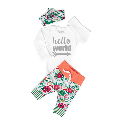 Coral Floral HELLO WORLD Newborn Outfit - Gigi and Max