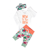 Coral Floral New to the Crew Newborn Outfit - Gigi and Max