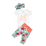Coral Floral BEST DAY Ever Coral Writing Newborn Outfit - Gigi and Max