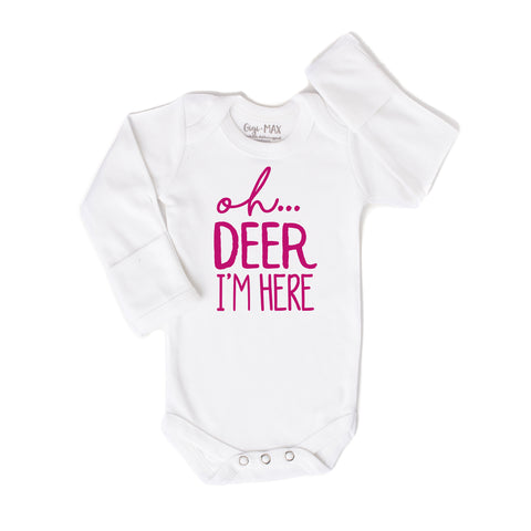 oh deer hot pink - long sleeve - Gigi and Max
