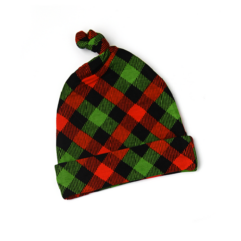 Paxton Christmas Plaid Newborn knot hat - Gigi and Max