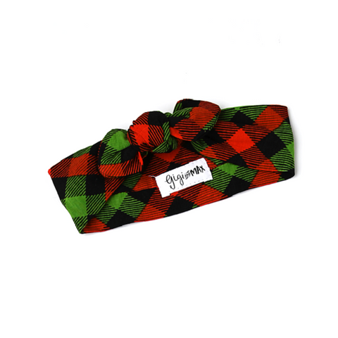Paxton Christmas Plaid Topknot Headband - Gigi and Max