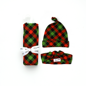 Paxton Christmas Plaid SWADDLE - Gigi and Max
