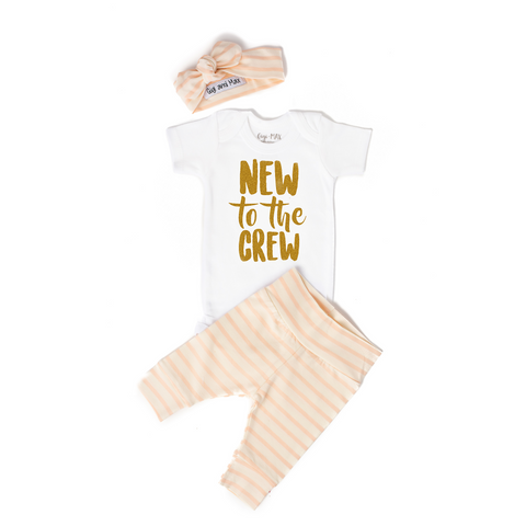 New to the Crew Coral Stripe Newborn Outfit - Gigi and Max