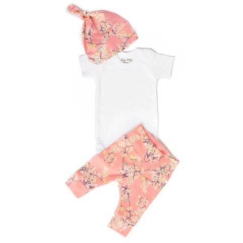 Pink Floral Hat - Short Sleeve - Gigi and Max