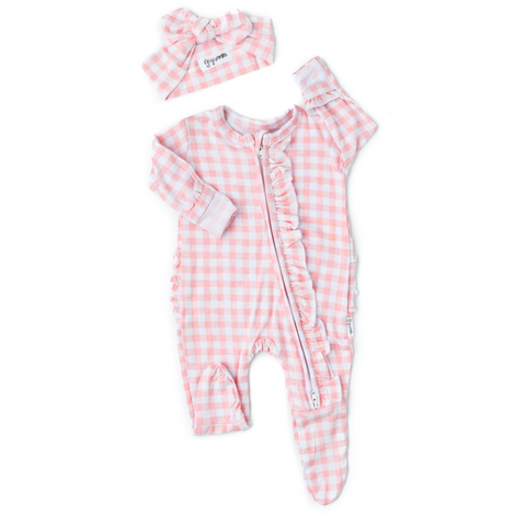 Addison Pink Gingham Ruffle Newborn Footed Zip - Gigi and Max