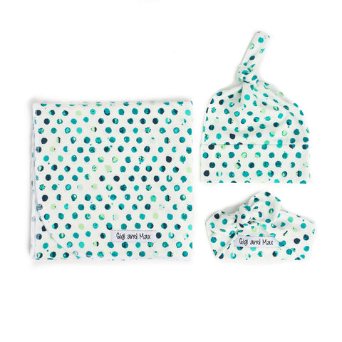 "Polka dot Swaddle - 34""x34"" Gender Neutral - Gigi and Max"