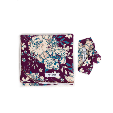 "Swaddle Plum Floral -  34"" X 34"" - Gigi and Max"